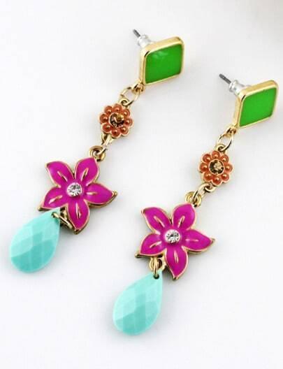Green Geometric Flower Gold Earrings