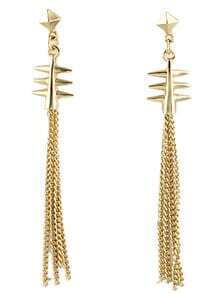 Gold Rivet Chain Tassel Earrings