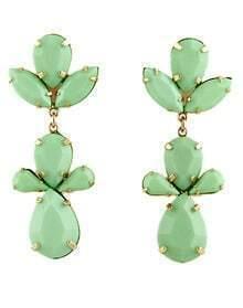Gold Gemstone Gold Leaves Earrings