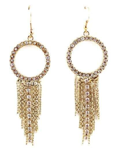 Gold Diamond Chain Tassel Dangle Earrings
