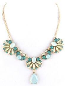 Blue Gemstone Gold Leaves Chain Necklace