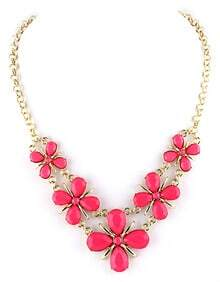 Red Gemstone Flower Gold Chain Necklace
