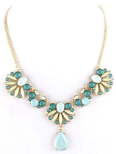 Blue Gemstone Leaves Chain Necklace