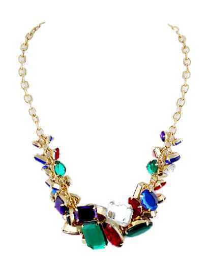 Multicolor Gemstone Gold Chain Necklace