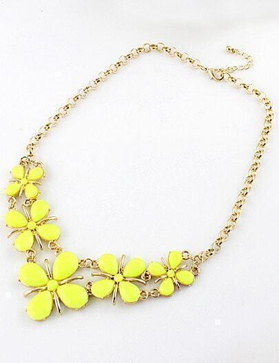 Yellow Gemstone Flower Gold Chain Necklace