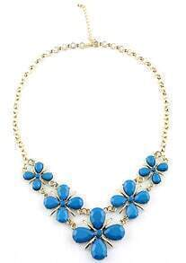 Blue Gemstone Flower Gold Chain Necklace
