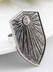 White Diamond Retro Silver Shield Ring