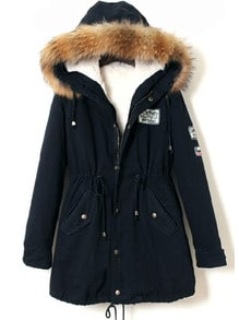 Faux Fur Trim Hooded Drawstring Parka
