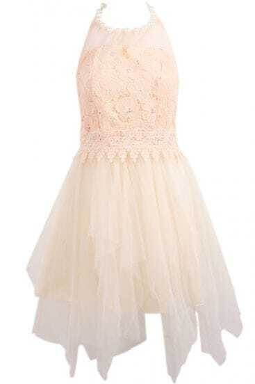 Apricot Sleeveless Bead Embroidered Gauze Dress
