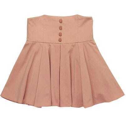 Pink High Waist Ruffle Button Skirt