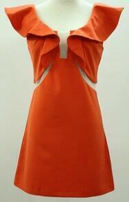 Orange Ruffle Short Sleeve Zip Dress
