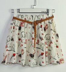 Beige Floral Print Skirt Pant