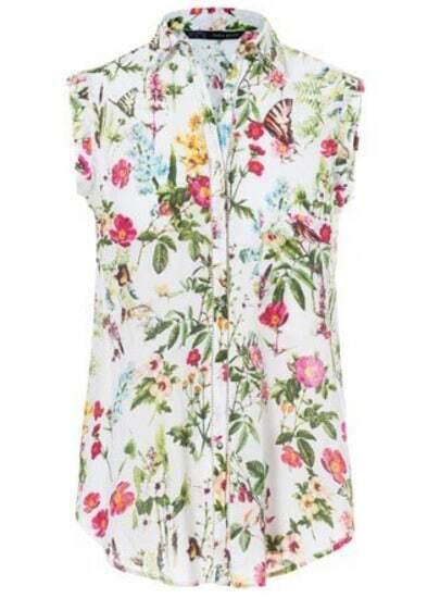 White Lapel Sleeveless Floral Pocket Blouse