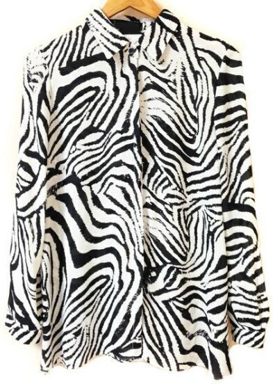 Black White Long Sleeve Zebra Print Chiffon Blouse