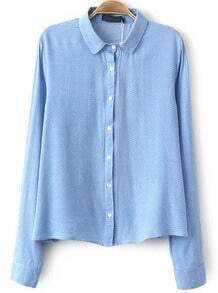 Blue Lapel Long Sleeve Polka Dot Blouse