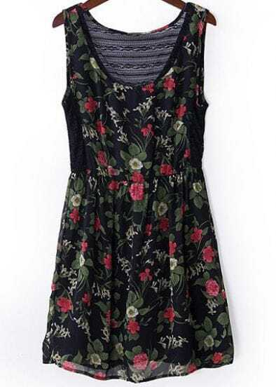 Green Scoop Neck Sleeveless Floral Chiffon Dress