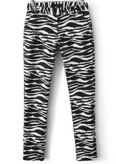 Black White High Waist Zebra Print Pant