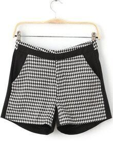 Black White Houndstooth Straight Shorts