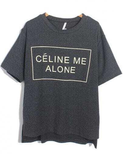 Grey CELINE ME ALONE CHANNEL Print Loose T-Shirt