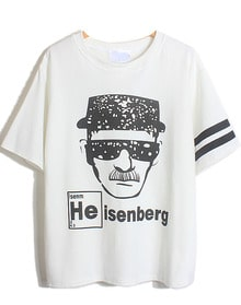 White Short Sleeve Detective Sunglasses Print T-Shirt
