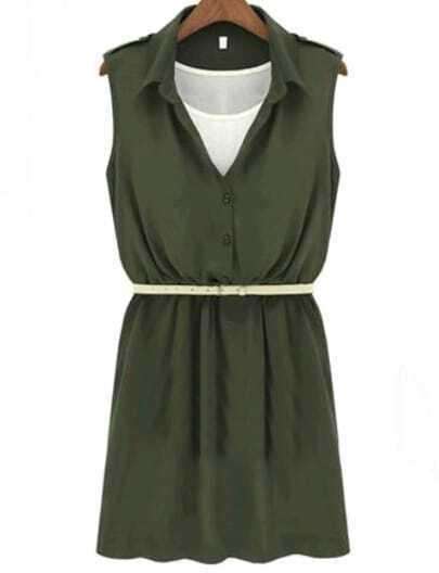 Green Lapel Sleeveless Buttons Chiffon Dress