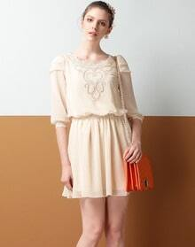 Beige Half Sleeve Embroidered Chiffon Dress