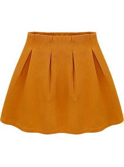Yellow Casual Ruffle Skirt