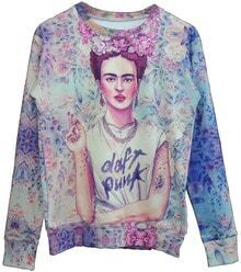 Blue Long Sleeve Smoking Frida Print Sweatshirt