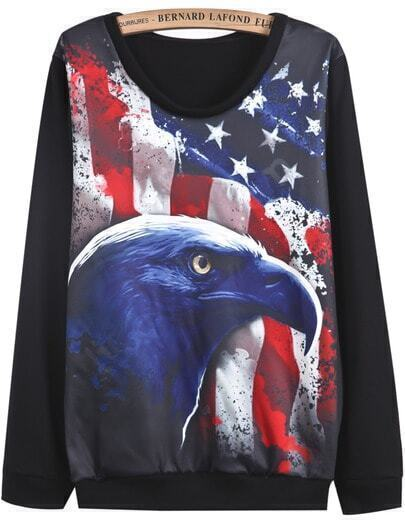 Black Long Sleeve Eagle Print Sweatshirt