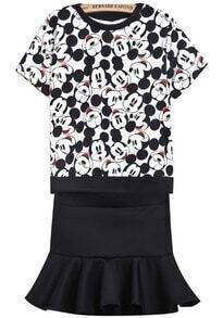 Black White Mickey Print Top With Ruffle Skirt