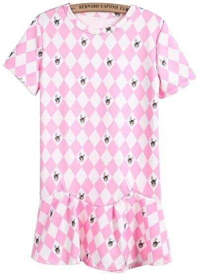 Pink Short Sleeve Diamond Rabbit Print Ruffle Dress