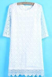 White Half Sleeve Hollow Floral Crochet Lace Dress