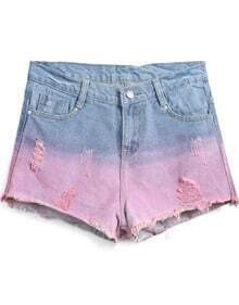 Blue Contrast Red Ripped Denim Shorts