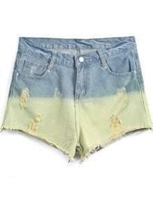 Blue Contrast Green Ripped Denim Shorts