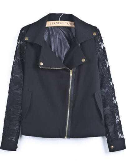 Black Contrast Lace Long Sleeve Zipper Jacket