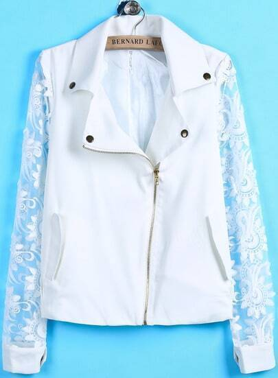 White Contrast Lace Long Sleeve Zipper Jacket