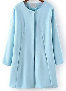 Light Blue Long Sleeve Covered Button Coat