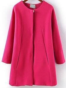 Rose Red Long Sleeve Covered Button Coat