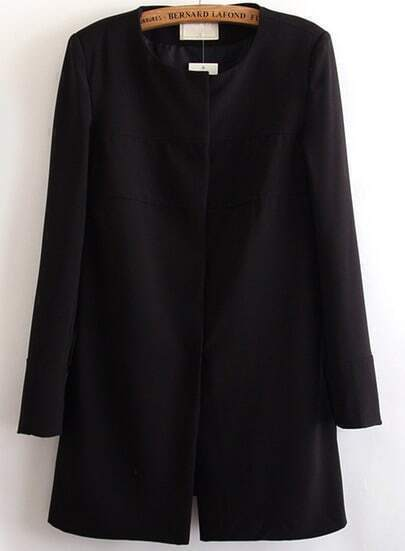 Black Long Sleeve Single Breasted Coat