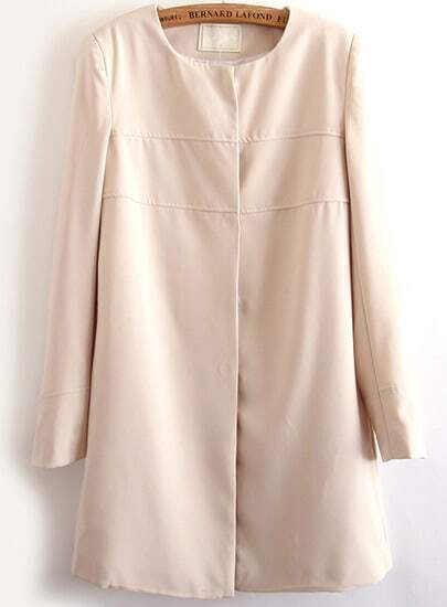 Beige Long Sleeve Single Breasted Coat