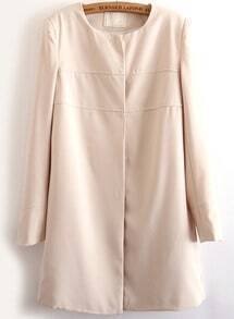 Beige Long Sleeve Single Breasted Coat