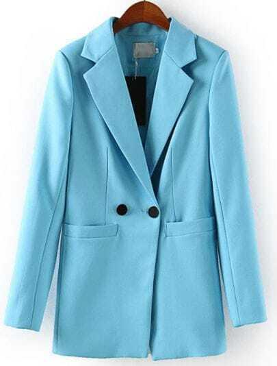 Blue Notch Lapel Long Sleeve Fitted Blazer