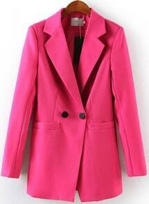 Rose Red Notch Lapel Long Sleeve Fitted Blazer