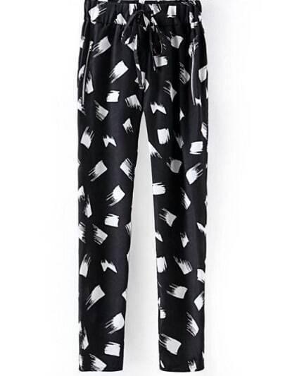Black Drawstring Waist Floral Pockets Pant