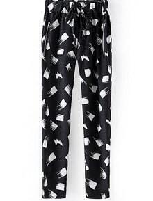 Black Drawstring Waist Floral Pockets Pant