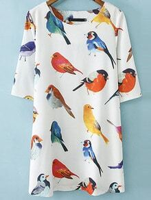 White Half Sleeve Birds Print Loose Dress