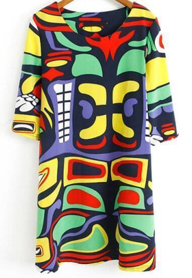 Multicolor Half Sleeve Birds Print Loose Dress