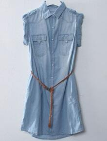 Blue Lapel Short Sleeve Pockets Denim Dress
