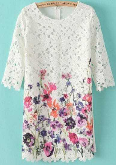 White Half Sleeve Hollow Purple Floral Dress
