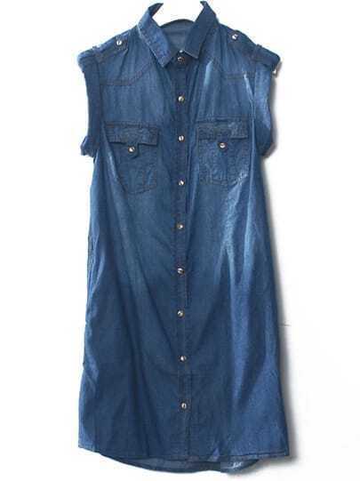 Navy Lapel Short Sleeve Pockets Denim Dress